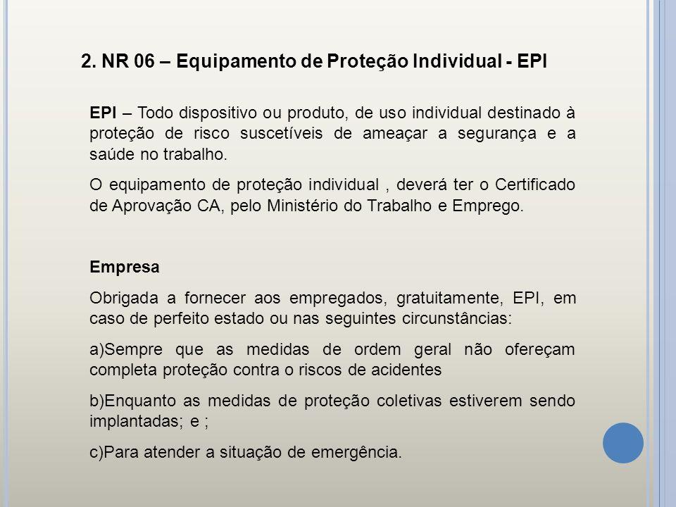 2. NR 06 – Equipamento de Proteção Individual - EPI EPI – Todo dispositivo ou produto, de uso individual destinado à proteção de risco suscetíveis de