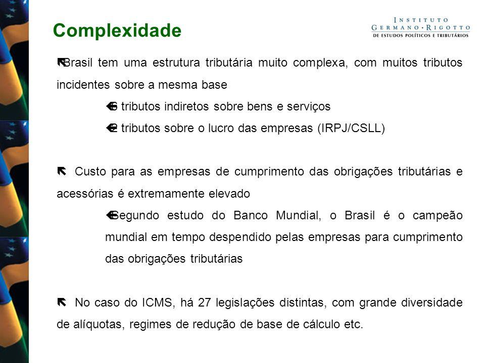 Complexidade Brasil tem uma estrutura tributária muito complexa, com muitos tributos incidentes sobre a mesma base 6 tributos indiretos sobre bens e s