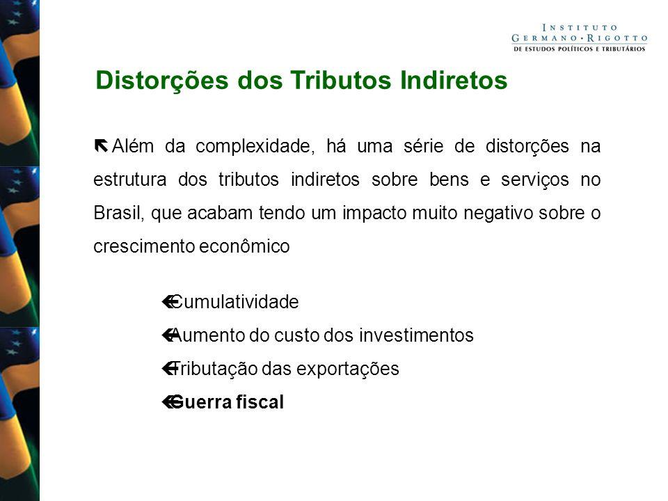 Distorções dos Tributos Indiretos Além da complexidade, há uma série de distorções na estrutura dos tributos indiretos sobre bens e serviços no Brasil