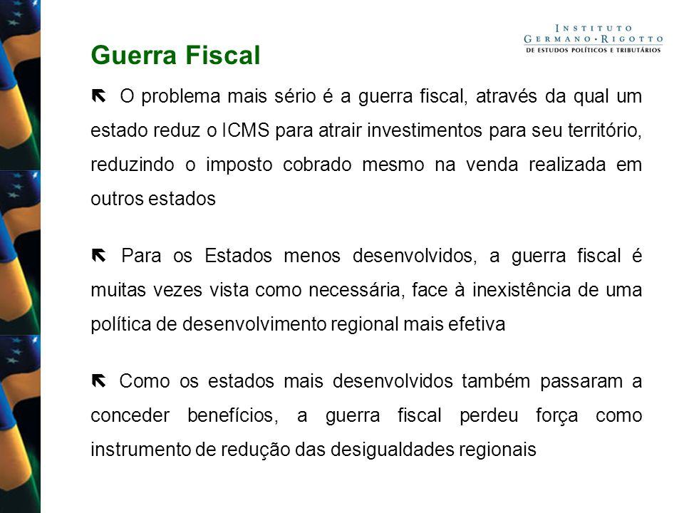 Guerra Fiscal O problema mais sério é a guerra fiscal, através da qual um estado reduz o ICMS para atrair investimentos para seu território, reduzindo
