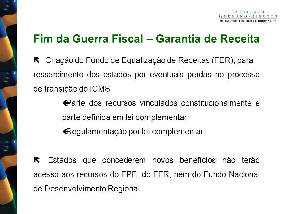 Fim da Guerra Fiscal – Garantia de Receita Criação do Fundo de Equalização de Receitas (FER), para ressarcimento dos estados por eventuais perdas no p