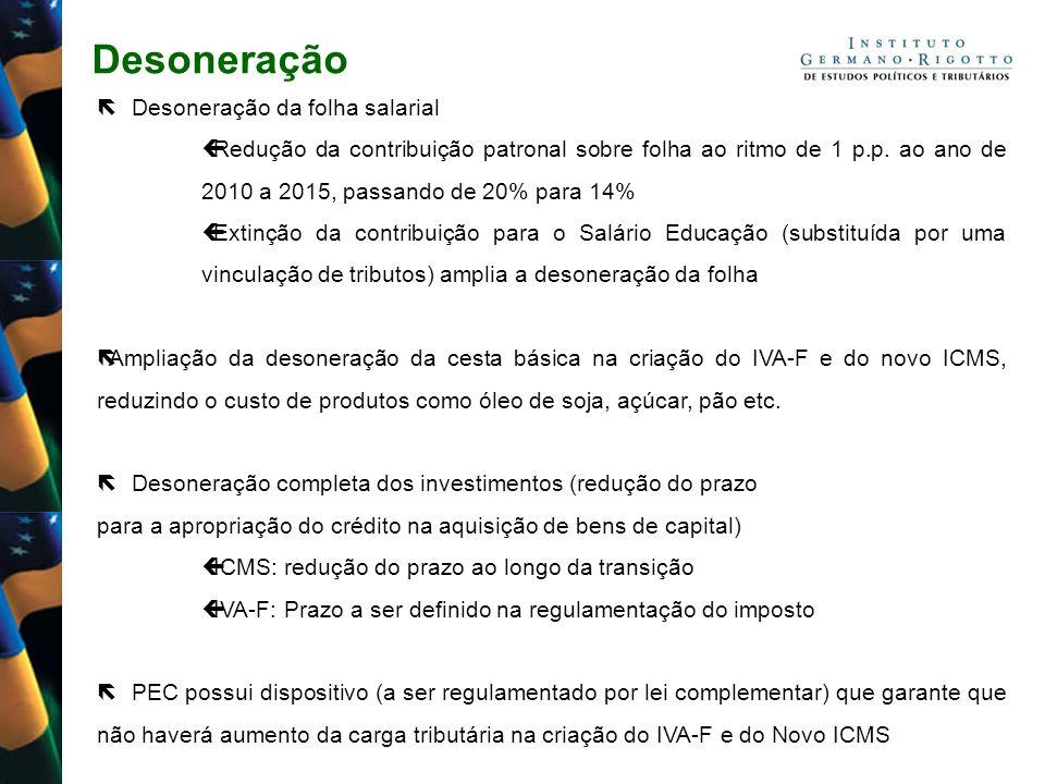Desoneração Desoneração da folha salarial Redução da contribuição patronal sobre folha ao ritmo de 1 p.p. ao ano de 2010 a 2015, passando de 20% para