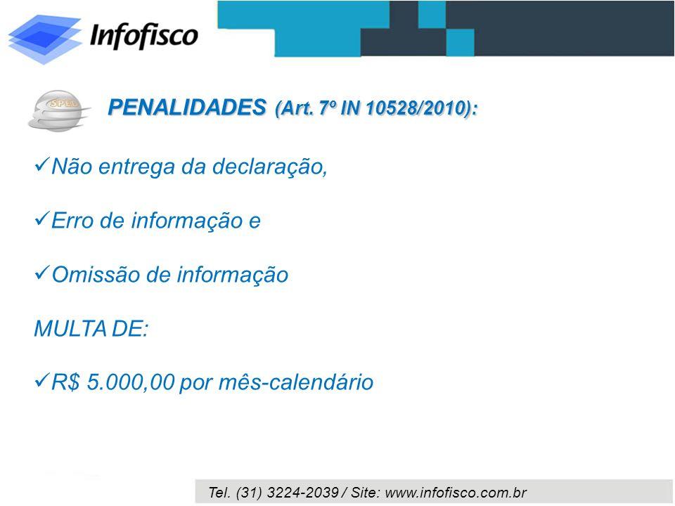Tel. (31) 3224-2039 / Site: www.infofisco.com.br Não entrega da declaração, Erro de informação e Omissão de informação MULTA DE: R$ 5.000,00 por mês-c