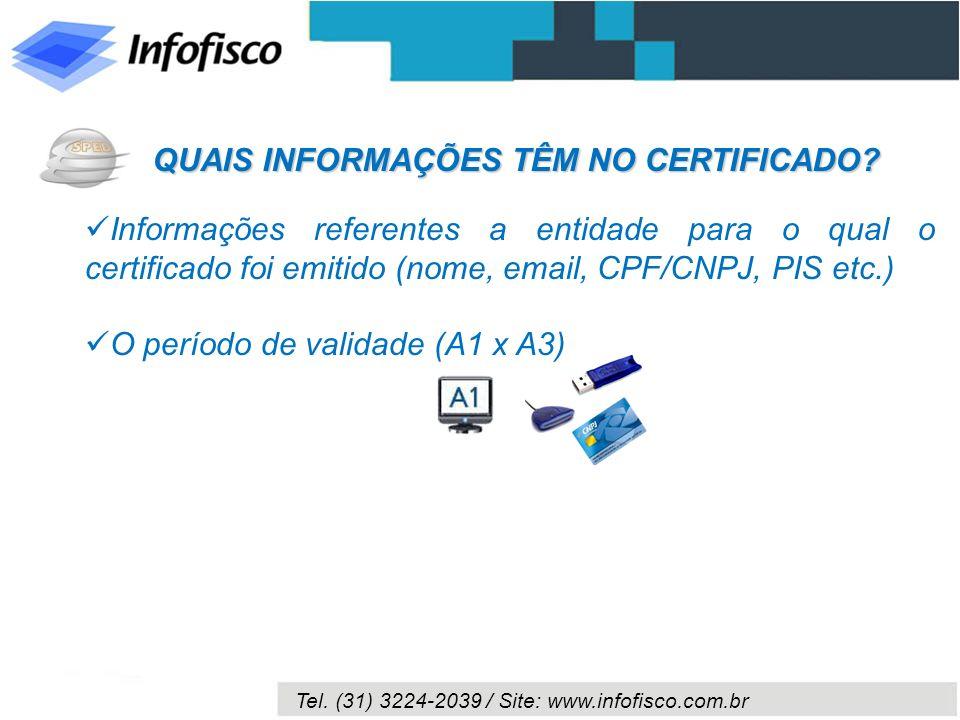 Tel. (31) 3224-2039 / Site: www.infofisco.com.br Informações referentes a entidade para o qual o certificado foi emitido (nome, email, CPF/CNPJ, PIS e