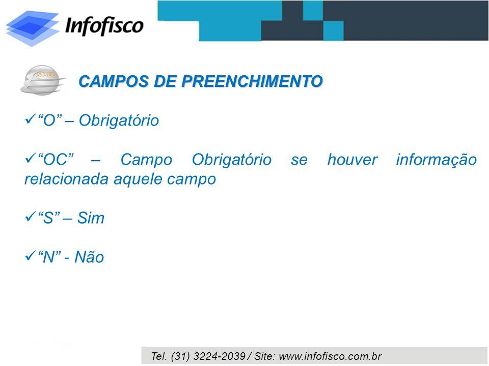 Tel. (31) 3224-2039 / Site: www.infofisco.com.br O – Obrigatório OC – Campo Obrigatório se houver informação relacionada aquele campo S – Sim N - Não