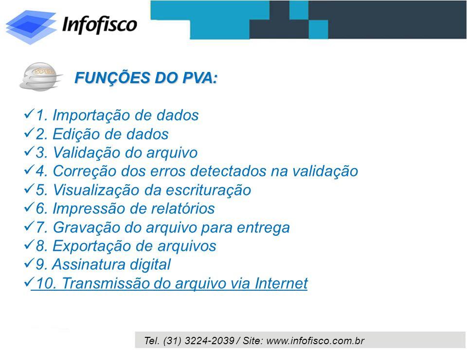 Tel. (31) 3224-2039 / Site: www.infofisco.com.br FUNÇÕES DO PVA: 1. Importação de dados 2. Edição de dados 3. Validação do arquivo 4. Correção dos err