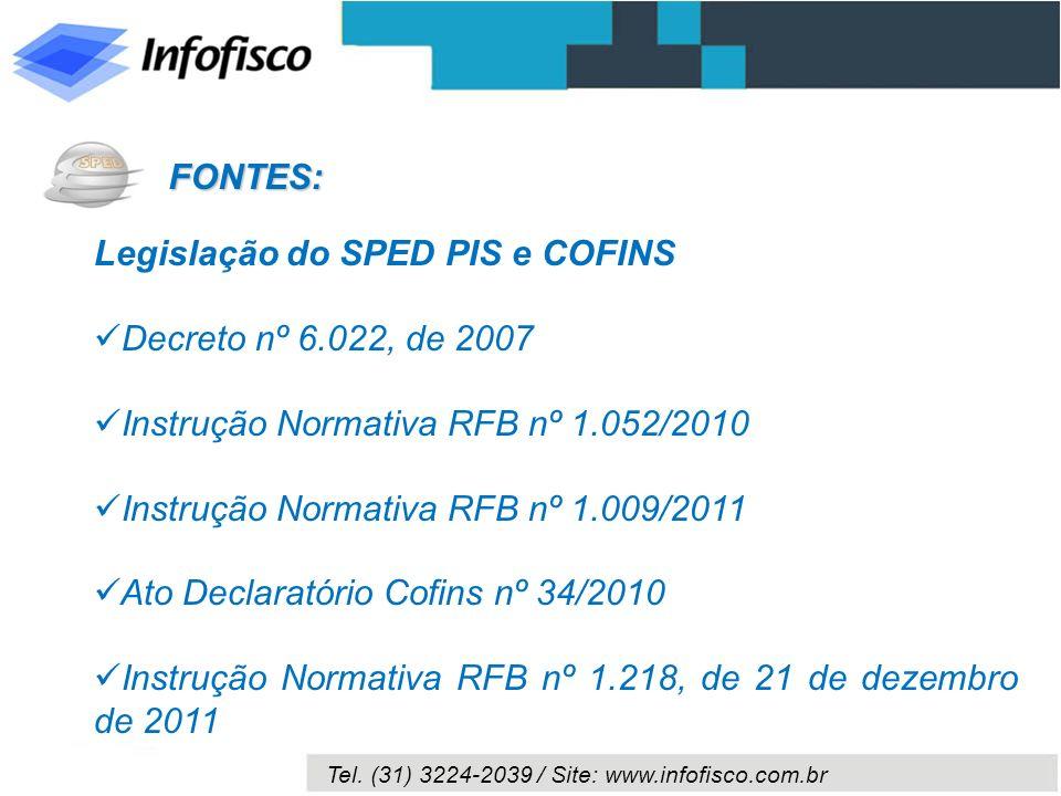 Tel. (31) 3224-2039 / Site: www.infofisco.com.br Legislação do SPED PIS e COFINS Decreto nº 6.022, de 2007 Instrução Normativa RFB nº 1.052/2010 Instr