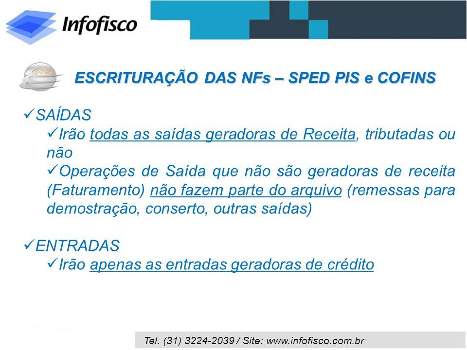 Tel. (31) 3224-2039 / Site: www.infofisco.com.br SAÍDAS Irão todas as saídas geradoras de Receita, tributadas ou não Operações de Saída que não são ge