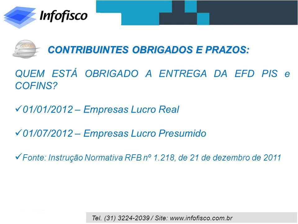 Tel. (31) 3224-2039 / Site: www.infofisco.com.br QUEM ESTÁ OBRIGADO A ENTREGA DA EFD PIS e COFINS? 01/01/2012 – Empresas Lucro Real 01/07/2012 – Empre