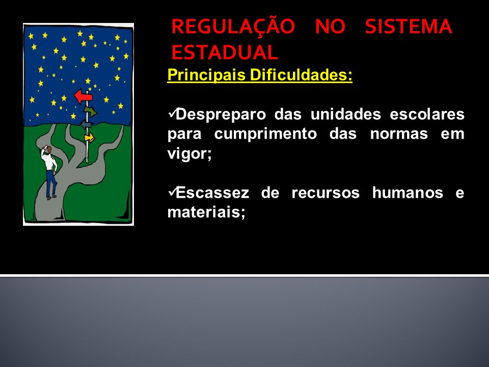 Principais Dificuldades: Despreparo das unidades escolares para cumprimento das normas em vigor; Escassez de recursos humanos e materiais; REGULAÇÃO N