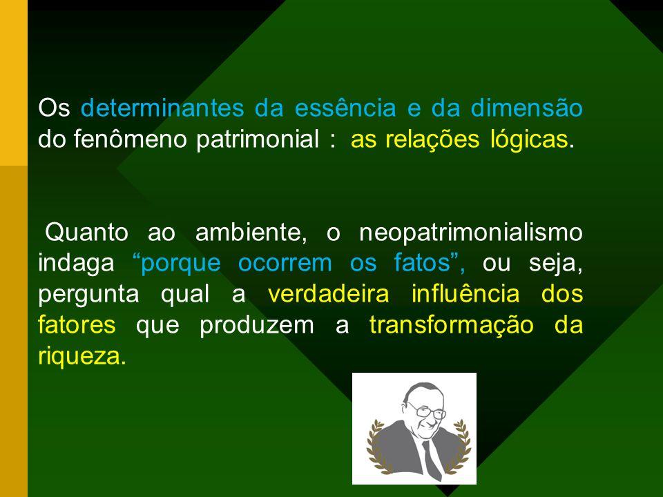 Epistemologia do neopatrimonialismo: essência, ambiente e dimensão A essência: representa o embrião ou origem do acontecimento. A dimensão : oferece o
