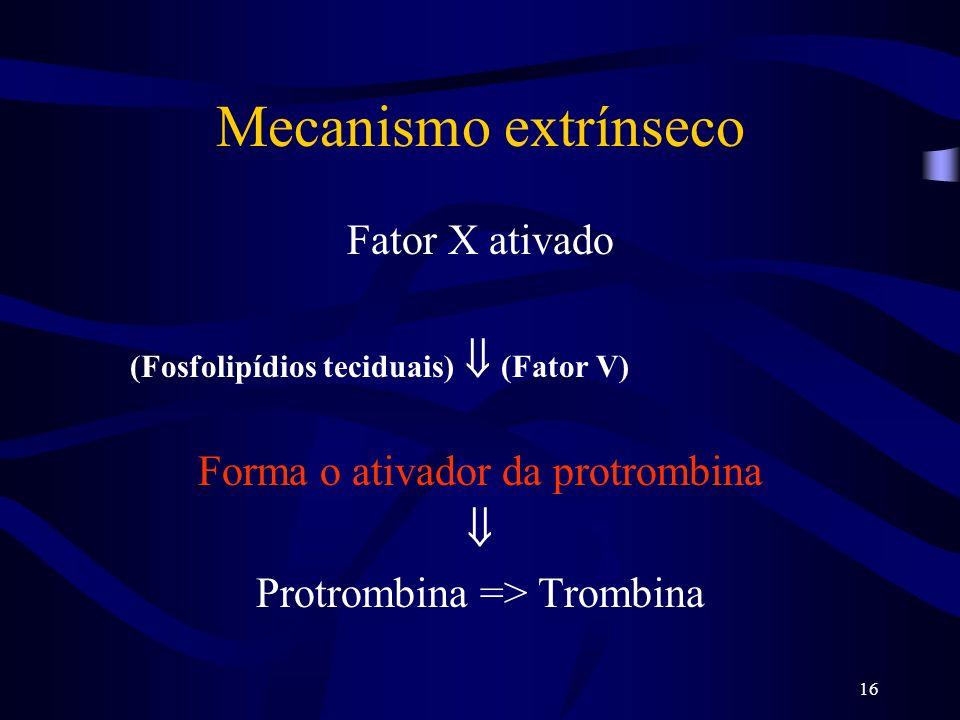 16 Mecanismo extrínseco Fator X ativado (Fosfolipídios teciduais) (Fator V) Forma o ativador da protrombina Protrombina => Trombina