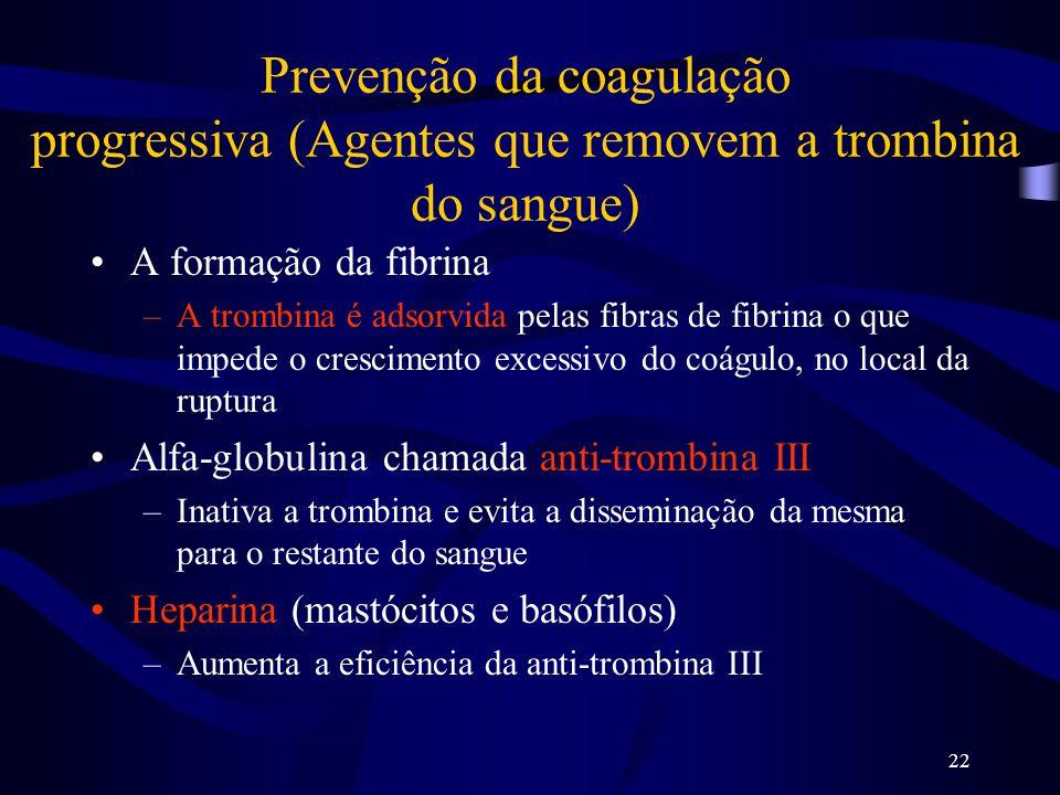 22 Prevenção da coagulação progressiva (Agentes que removem a trombina do sangue) A formação da fibrina –A trombina é adsorvida pelas fibras de fibrin