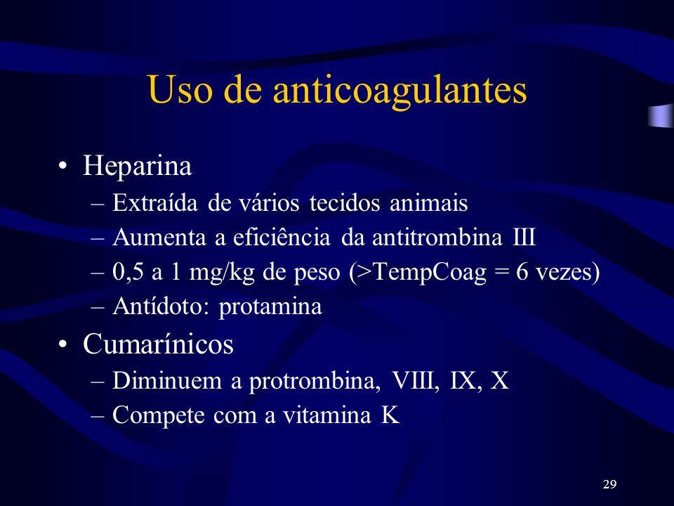 29 Uso de anticoagulantes Heparina –Extraída de vários tecidos animais –Aumenta a eficiência da antitrombina III –0,5 a 1 mg/kg de peso (>TempCoag = 6
