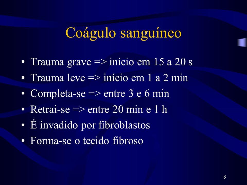 6 Coágulo sanguíneo Trauma grave => início em 15 a 20 s Trauma leve => início em 1 a 2 min Completa-se => entre 3 e 6 min Retrai-se => entre 20 min e