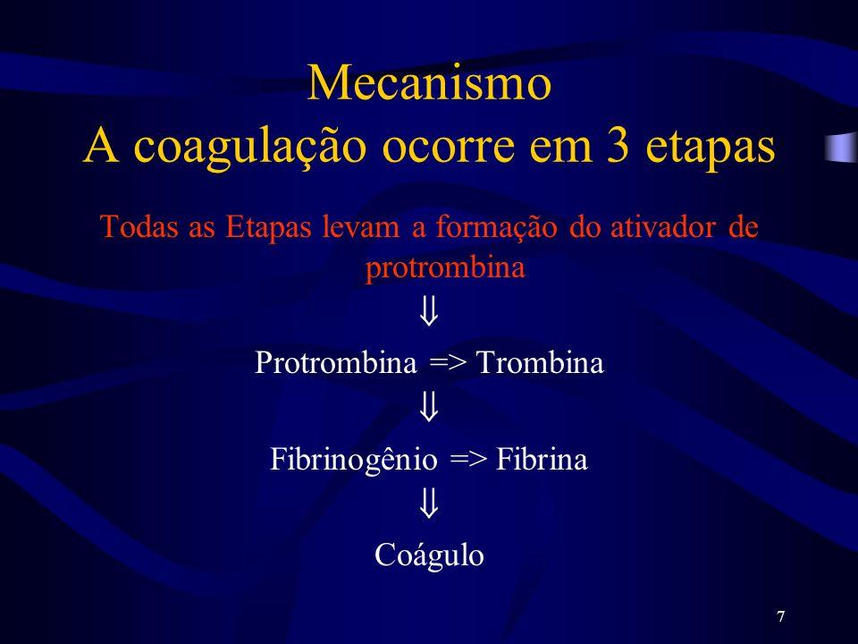 7 Mecanismo A coagulação ocorre em 3 etapas Todas as Etapas levam a formação do ativador de protrombina Protrombina => Trombina Fibrinogênio => Fibrin