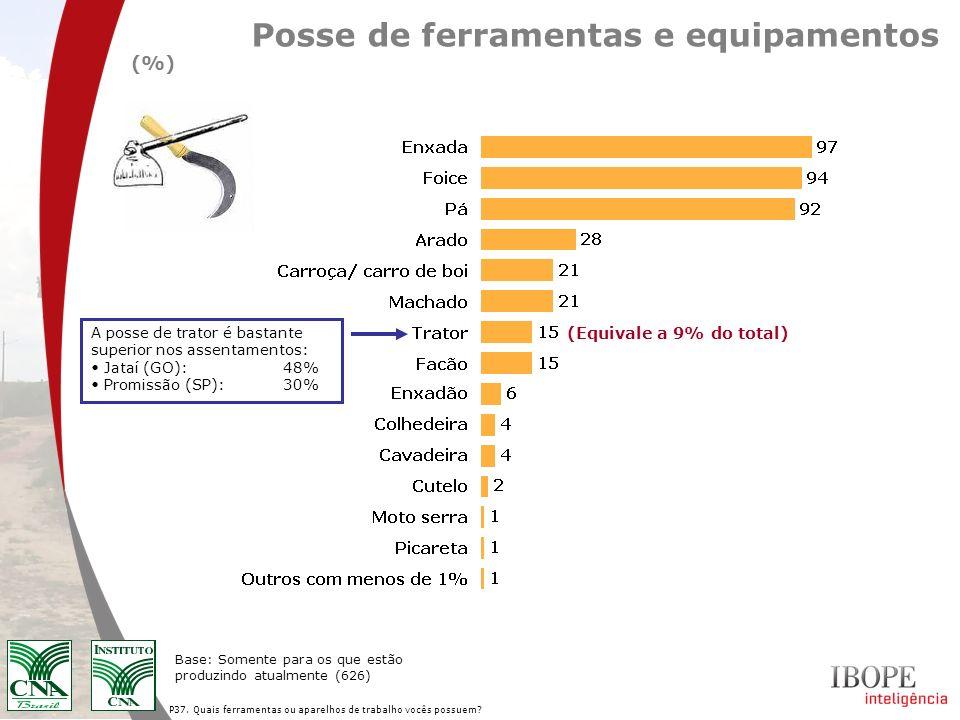 P37. Quais ferramentas ou aparelhos de trabalho vocês possuem? Posse de ferramentas e equipamentos (%) Base: Somente para os que estão produzindo atua