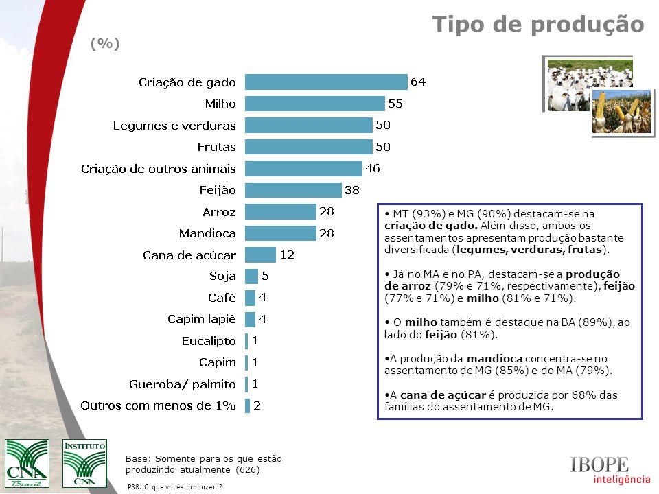 P38. O que vocês produzem? Tipo de produção (%) Base: Somente para os que estão produzindo atualmente (626) MT (93%) e MG (90%) destacam-se na criação