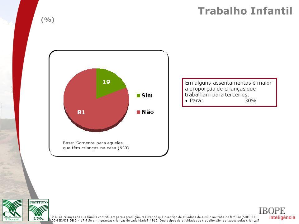 Composição da renda total Pelo menos 49% da renda dos assentados não está associada à propriedade.