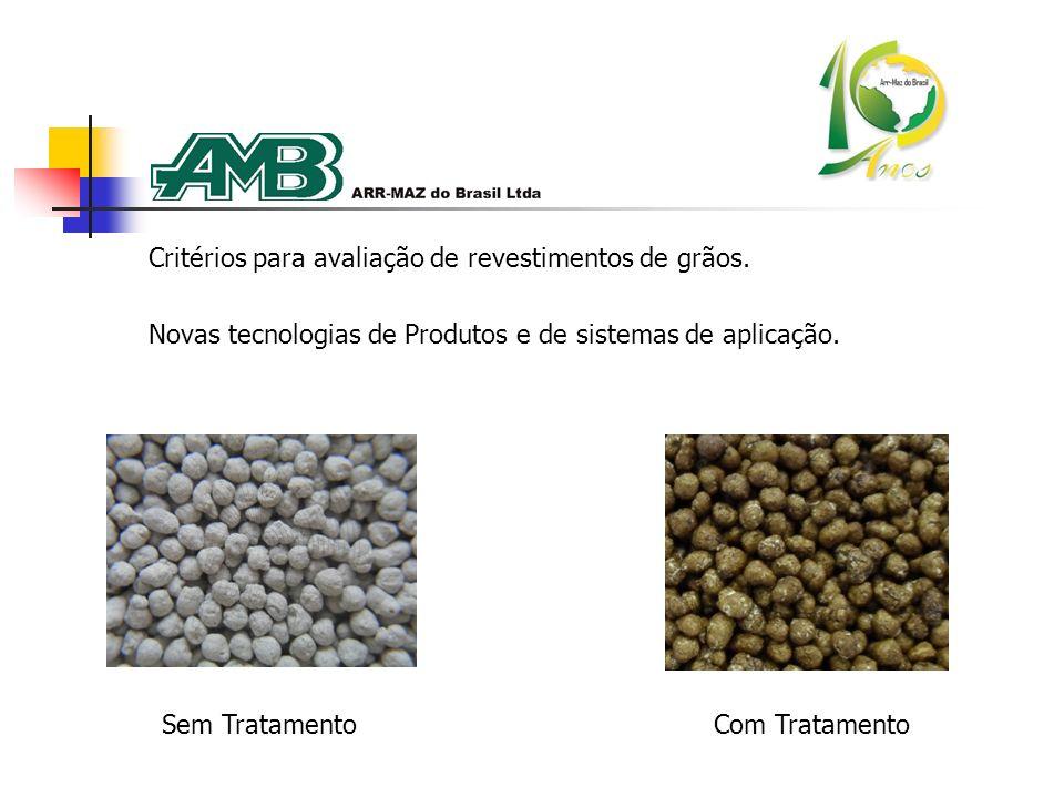 Critérios para avaliação de revestimentos de grãos. Novas tecnologias de Produtos e de sistemas de aplicação. Sem TratamentoCom Tratamento