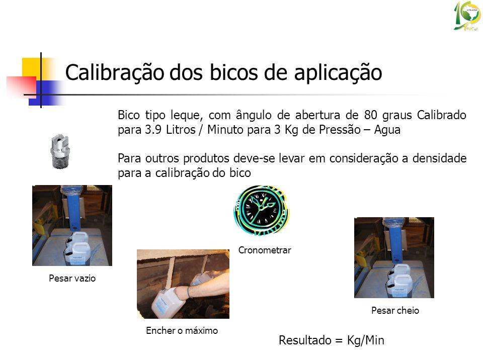 Calibração dos bicos de aplicação Bico tipo leque, com ângulo de abertura de 80 graus Calibrado para 3.9 Litros / Minuto para 3 Kg de Pressão – Agua P