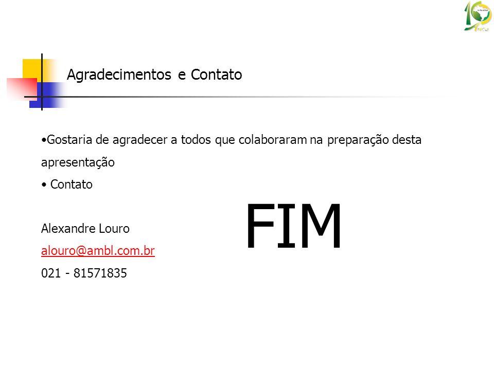 Agradecimentos e Contato Gostaria de agradecer a todos que colaboraram na preparação desta apresentação Contato Alexandre Louro alouro@ambl.com.br 021