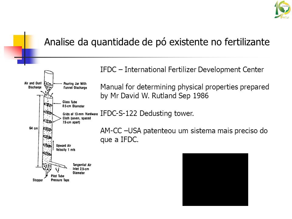 Analise da quantidade de pó existente no fertilizante IFDC – International Fertilizer Development Center Manual for determining physical properties pr