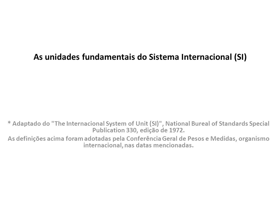 As unidades fundamentais do Sistema Internacional (SI) * Adaptado do