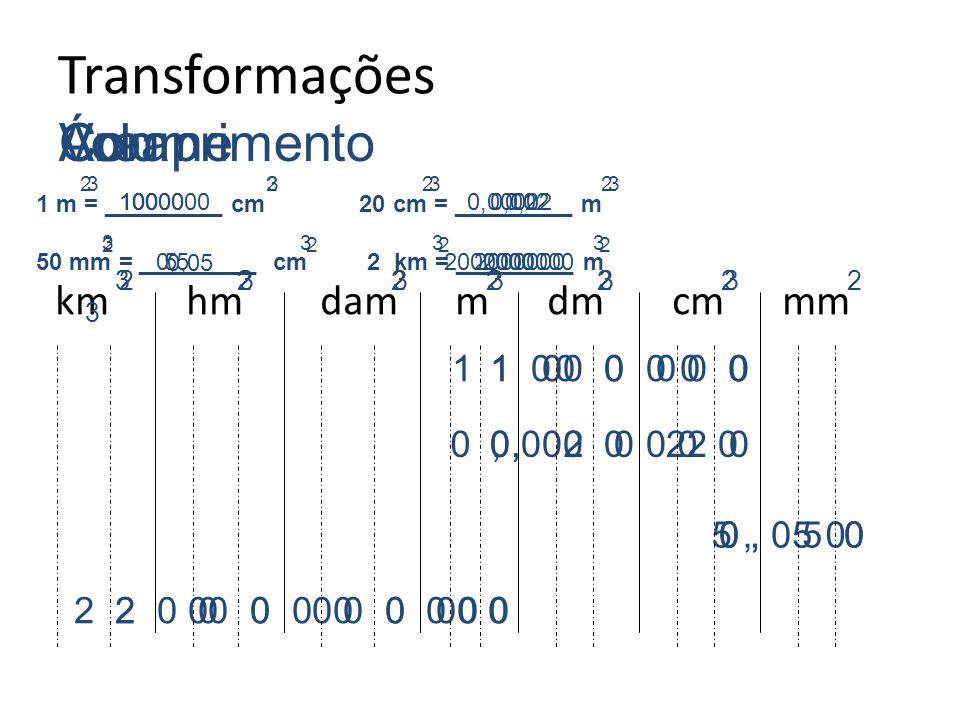 Transformações km hm dam m dm cm mm Comprimento 1 m = _________ cm 20 cm = _________ m 50 mm = _________ cm 2 km = _________ m 1 0 0 0, 2 0 0,2 5, 0 2