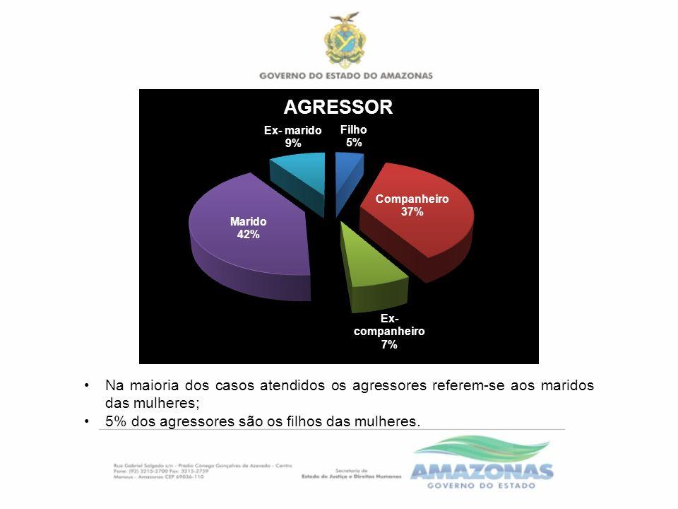 Na maioria dos casos atendidos os agressores referem-se aos maridos das mulheres; 5% dos agressores são os filhos das mulheres.