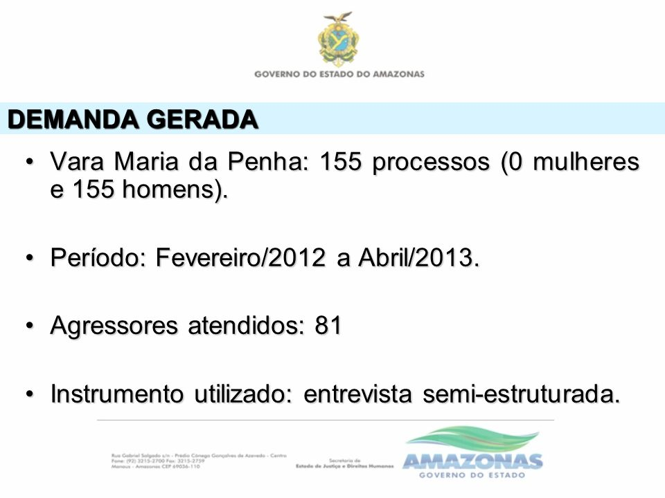 DEMANDA GERADA Vara Maria da Penha: 155 processos (0 mulheres e 155 homens).Vara Maria da Penha: 155 processos (0 mulheres e 155 homens). Período: Fev