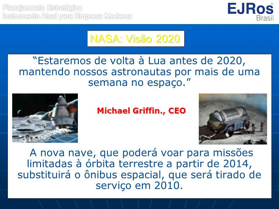 NASA: Visão 2020 Estaremos de volta à Lua antes de 2020, mantendo nossos astronautas por mais de uma semana no espaço. Michael Griffin., CEO Michael G
