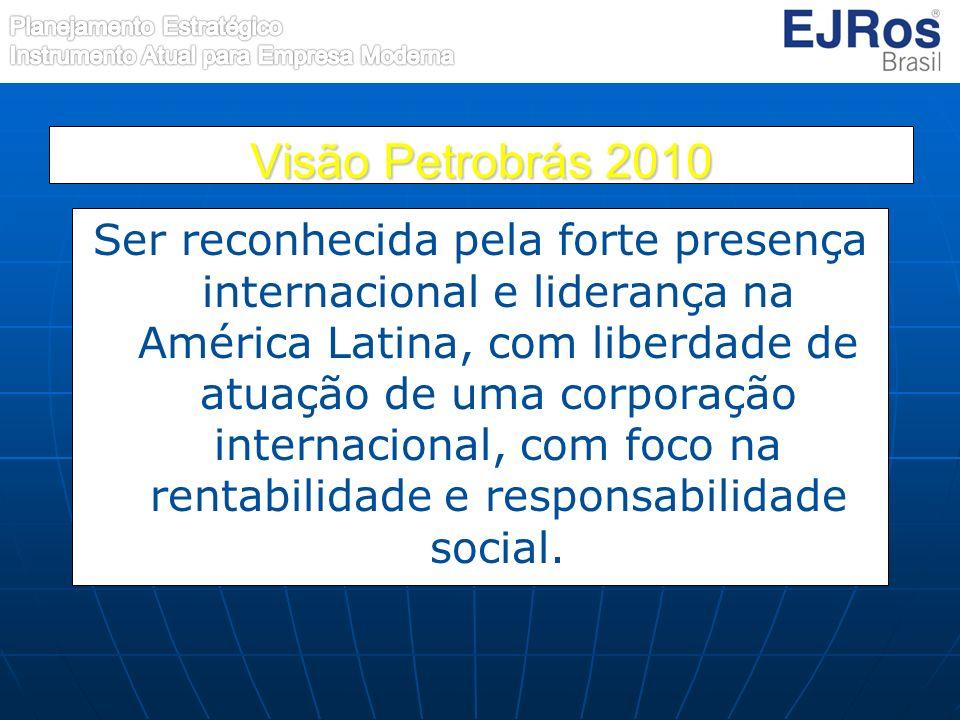 Visão Petrobrás 2010 Ser reconhecida pela forte presença internacional e liderança na América Latina, com liberdade de atuação de uma corporação inter