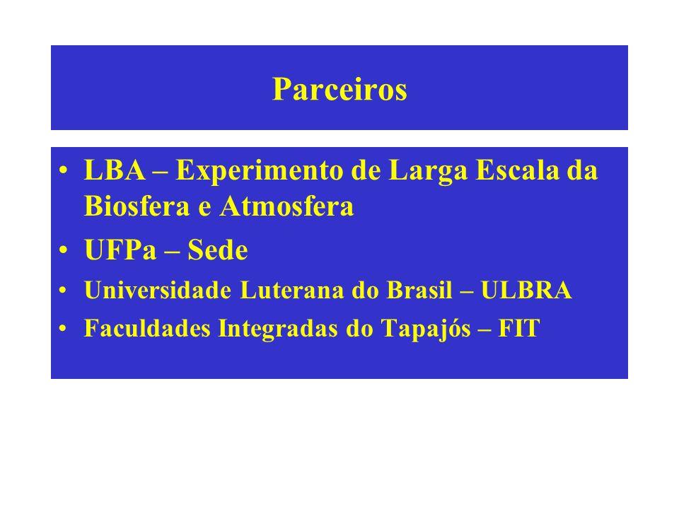 Parceiros LBA – Experimento de Larga Escala da Biosfera e Atmosfera UFPa – Sede Universidade Luterana do Brasil – ULBRA Faculdades Integradas do Tapaj