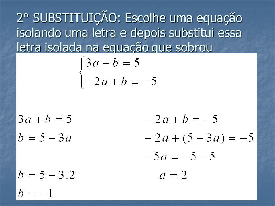 Existem dois métodos para resolver esse sistema: ADIÇÃO E SUBSTITUIÇÃO 1° ADIÇÃO: Multiplicar a primeira equação por (-1) e somar as equações