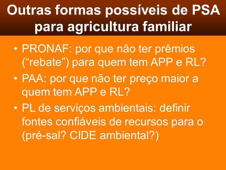Outras formas possíveis de PSA para agricultura familiar PRONAF: por que não ter prêmios (rebate) para quem tem APP e RL? PAA: por que não ter preço m