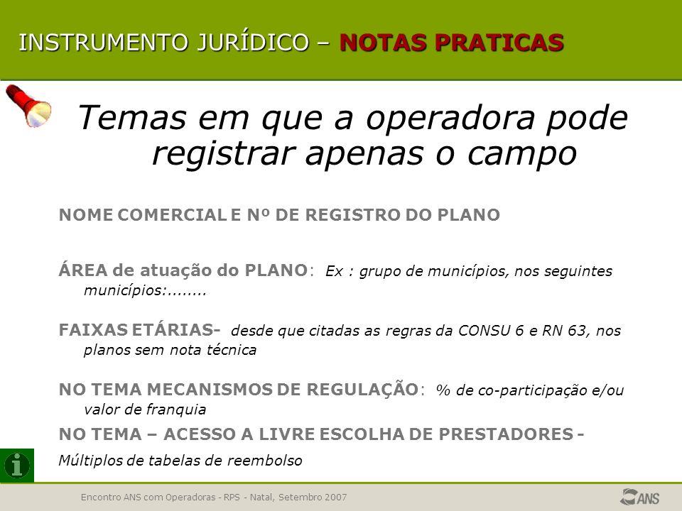 Encontro ANS com Operadoras - RPS - Natal, Setembro 2007 INSTRUMENTO JURÍDICO INSTRUMENTO JURÍDICO -Temas não obrigatórios PADRÃO DE ACOMODAÇÃO EM INT