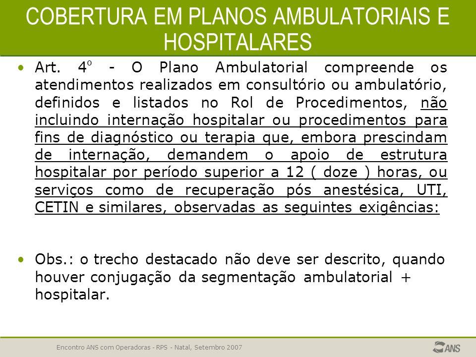Encontro ANS com Operadoras - RPS - Natal, Setembro 2007 COBERTURA ASSISTENCIAL 69,53 % de REPROVAÇÃO -ERROS COMUNS Não garantir o Rol de Procedimento