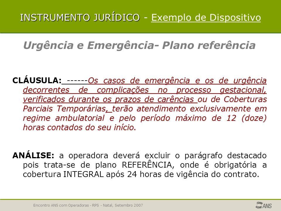 Encontro ANS com Operadoras - RPS - Natal, Setembro 2007 URGÊNCIA E EMERGÊNCIA – REGRAS DE REEMBOLSO o reembolso é garantido quando no atendimento de