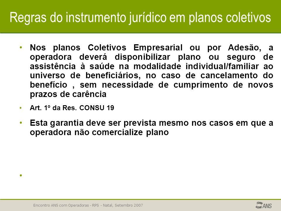 Encontro ANS com Operadoras - RPS - Natal, Setembro 2007 Regras do instrumento jurídico em planos coletivos 62,38% reprovações- ERROS COMUNS Os planos