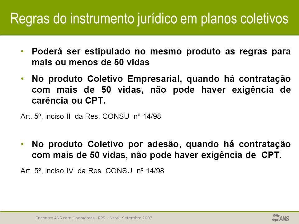 Encontro ANS com Operadoras - RPS - Natal, Setembro 2007 Regras do instrumento jurídico em planos coletivos Nos planos Coletivos Empresarial ou por Ad