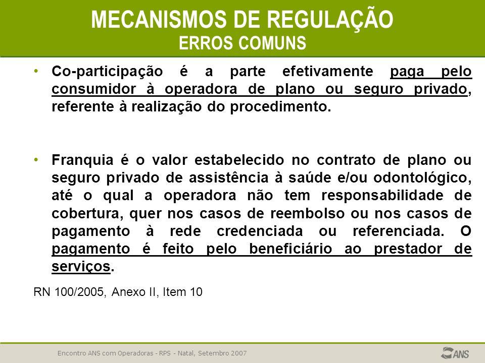 Encontro ANS com Operadoras - RPS - Natal, Setembro 2007 MECANISMOS DE REGULAÇÃO 44,92% REPROVAÇÃO ERROS COMUNS Não garantir a junta médica nos casos