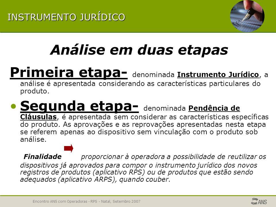 Encontro ANS com Operadoras - RPS - Natal, Setembro 2007 ETAPAS DA ANÁLISE 1ª ETAPA – Dados Gerais 2ª ETAPA – NTRP 3ª ETAPA – Instrumento Jurídico 3ª
