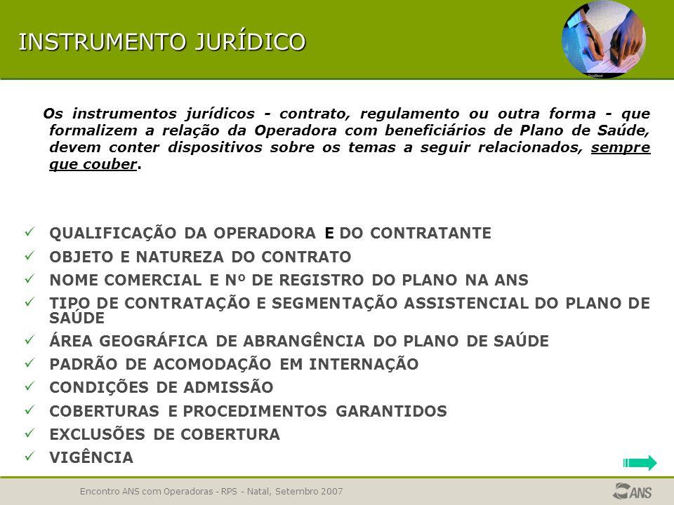 TEMAS DO INSTRUMENTO JURÍDICO RPS