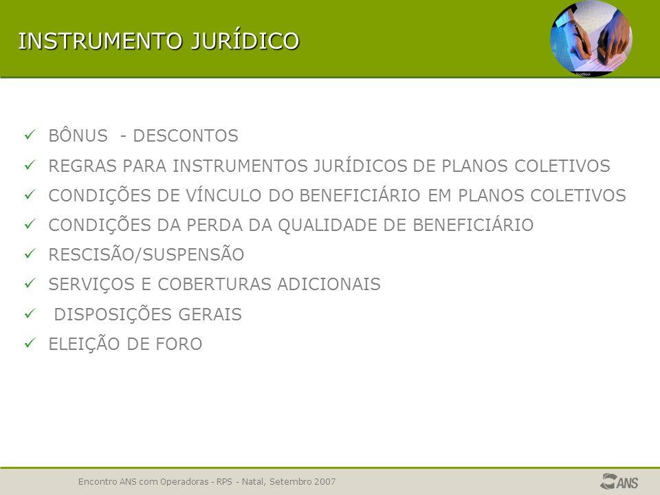 Encontro ANS com Operadoras - RPS - Natal, Setembro 2007 INSTRUMENTO JURÍDICO BÔNUS - DESCONTOS REGRAS PARA INSTRUMENTOS JURÍDICOS DE PLANOS COLETIVOS CONDIÇÕES DE VÍNCULO DO BENEFICIÁRIO EM PLANOS COLETIVOS CONDIÇÕES DA PERDA DA QUALIDADE DE BENEFICIÁRIO RESCISÃO/SUSPENSÃO SERVIÇOS E COBERTURAS ADICIONAIS DISPOSIÇÕES GERAIS ELEIÇÃO DE FORO