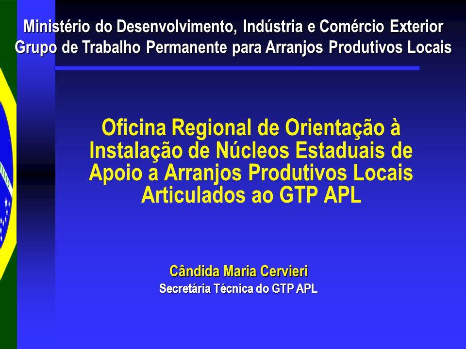 Responsabilidades da Secretaria Técnica do GTP APL: Responsabilidades da Secretaria Técnica do GTP APL: Encaminhar o formulário de PDP ao Núcleo Estadual; Encaminhar o formulário de PDP ao Núcleo Estadual; Receber e encaminhar os PDPs às instituições do GTP APL; Receber e encaminhar os PDPs às instituições do GTP APL; Promover os Workshops de Integração dos Instrumentos em nível federal; Promover os Workshops de Integração dos Instrumentos em nível federal; Articular soluções federais para as demandas dos APLs selecionados; Articular soluções federais para as demandas dos APLs selecionados; Consolidar e encaminhar a Agenda de Compromissos no nível federal aos núcleos estaduais e aos interlocutores do APL; Consolidar e encaminhar a Agenda de Compromissos no nível federal aos núcleos estaduais e aos interlocutores do APL; Disponibilizar o sistema de informação (em construção) para o encaminhamento dos processos de análise e para acompanhamento da implementação das ações dos PDPs.