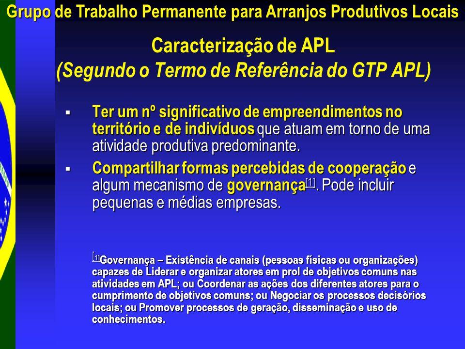 Caracterização de APL (Segundo o Termo de Referência do GTP APL) Ter um nº significativo de empreendimentos no território e de indivíduos que atuam em