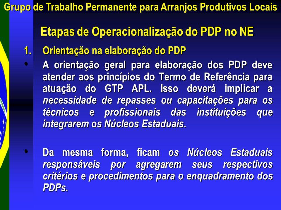 1.Orientação na elaboração do PDP A orientação geral para elaboração dos PDP deve atender aos princípios do Termo de Referência para atuação do GTP AP
