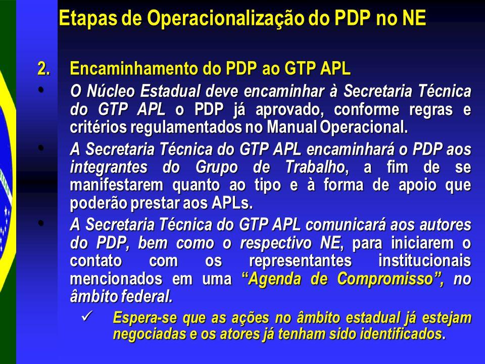 2.Encaminhamento do PDP ao GTP APL O Núcleo Estadual deve encaminhar à Secretaria Técnica do GTP APL o PDP já aprovado, conforme regras e critérios re