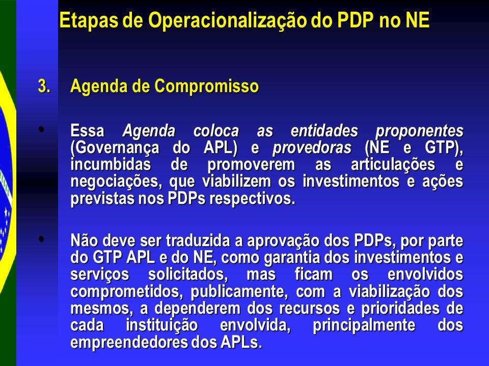 3.Agenda de Compromisso Essa Agenda coloca as entidades proponentes (Governança do APL) e provedoras (NE e GTP), incumbidas de promoverem as articulaç